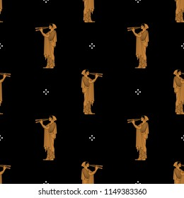Seamless geometrical pattern with silhouettes of ancient Greek girl playing the double flute. Based on vase painting motif.