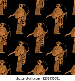 Seamless geometrical pattern with silhouettes of ancient Greek goddess Artemis with a bow. Cartoon style.