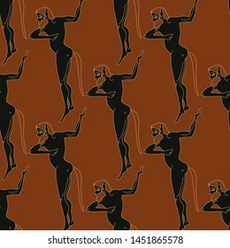 Seamless geometrical pattern with silhouettes of ancient Greek satyrs. Vase painting style.