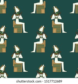 Seamless geometrical pattern with silhouettes of ancient Egyptian god Osiris sitting on throne.