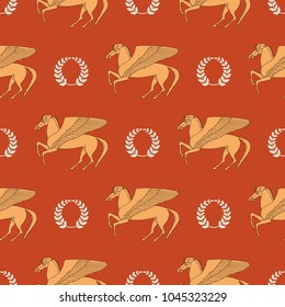 Seamless geometrical pattern with silhouettes of fantastic winged horse Pegasus and laurel wreaths. Ancient Greek mythology. Cartoon style.