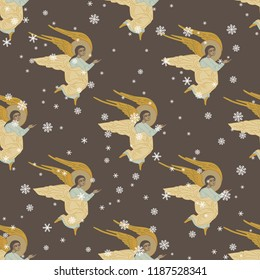 Seamless geometrical pattern with silhouettes of flying angels and snowflakes. Based on ancient Christian Orthodox icon motif.