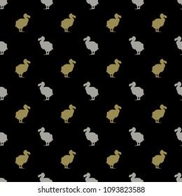 Seamless geometrical pattern with small silhouettes of extinct dodo bird. (Raphus cucullatus).