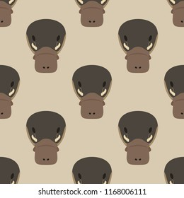 Seamless geometrical pattern with stylized heads of Platypus. Flat cartoon style.