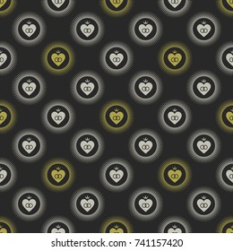 Seamless geometrical pattern with wedding emblems. Gold and silver on dark gray background.
