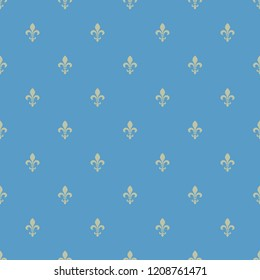 Seamless geometrical polka dot pattern with simple small heraldic fleur-de-lis symbols.