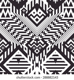 Seamless Geometrical Stripes Pattern for Trendy Textile Design. Mix of Black and White Lines, Triangles and Rhombuses. Vector Modern Art