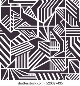 Seamless Geometrical Vector Pattern for Textile Design. Modern Mix of Black Triangles, Stripes and another Shapes.