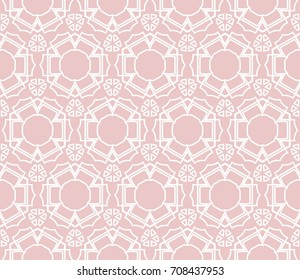 seamless geometry flower pattern. Arabesque. abstract vector illustration. rose color. for design invitation, background, wallpaper