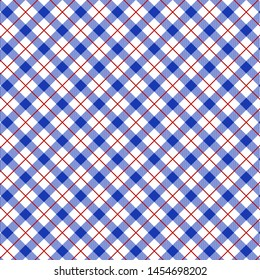 Seamless Gingham Blue Pattern. Texture for plaid, tablecloths, clothes, shirts, dresses, paper, bedding, blankets, quilts and other textile products. Vector illustration EPS 10