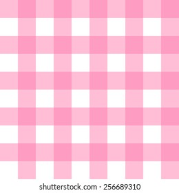 Seamless Gingham, pastel pink and white check pattern background vector.