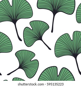 Seamless ginkgo leaves pattern. Nature background.