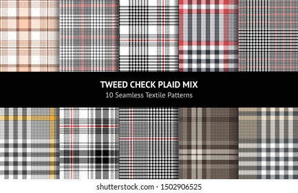 Seamless glen plaid pattern set. Tartan plaid in black, white, grey, brown, beige, red, and yellow for dress, jacket, skirt, trousers, or other modern tweed textile design.