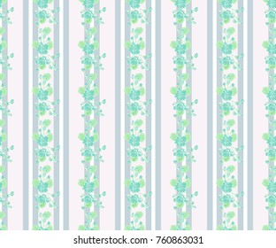 Seamless glowing pattern in lovely flowers. Composite overlay. Floral arrangements on light striped background. For textile, wallpaper, covers, surface, print, gift wrap, scrapbooking, decoupage.