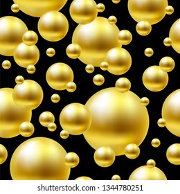 Seamless gold balls on black background.