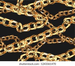 seamless gold chain illustration pattern