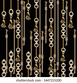 seamless gold chain rope tassel, baroque