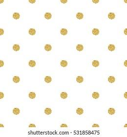 seamless gold dot glitter pattern  on white background