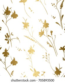 Seamless gold floral pattern on a white background