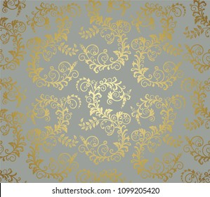 Seamless gold foliage wallpaper pattern on grey background. This image is a vector illustration.