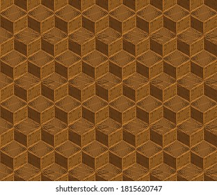 Seamless gold geometric embroidery cube pattern