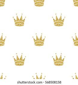 seamless gold glitter crown pattern background