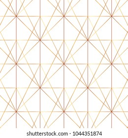 Seamless gold line geometric modern pattern. Background with rhombus, triangles and nodes. Golden texture.
