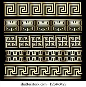 Seamless Gold Meander Patterns