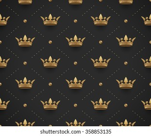 Seamless gold pattern with king crowns on a dark black background. Vector Illustration