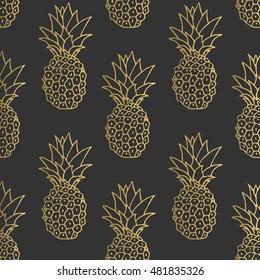 Seamless gold pineapples on dark background. Vector pattern. Fruit illustration