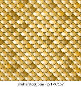 Seamless gold polygonal river fish scales. A sample of fish scales pattern for packaging design, corporate identity or tissue. Vector illustration eps 10. RGB colors.