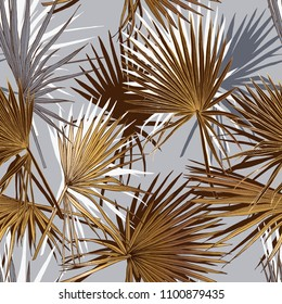 Seamless gold and silver pattern. Tropical leaves. Exotic fan palm. Vector illustration.