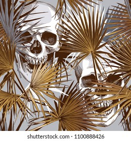 Seamless gold and silver pattern. Tropical leaves. Exotic fan palm and human skulls. Vector illustration.