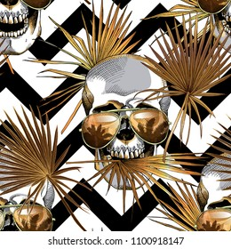 Seamless gold and silver pattern. Tropical leaves. Exotic fan palm and human skulls in a sunglasses on a geometric background. Vector illustration.