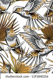 Seamless gold and silver pattern. Tropical leaves. Exotic fan palm and Hummingbird on a white background. Textile composition, hand drawn style print. Vector illustration.