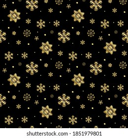 seamless gold snowflakes pattern and background vector illustration