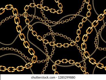 Seamless Golden Chain Pattern