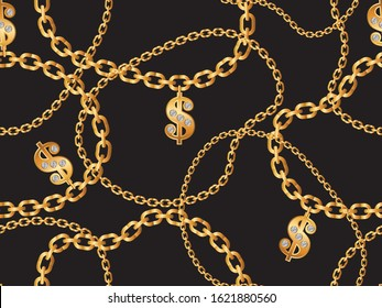 Seamless Golden Chain Pattern with Dollar Symbols