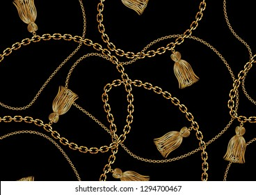 Seamless Golden Chain Pattern for Fashion Prints