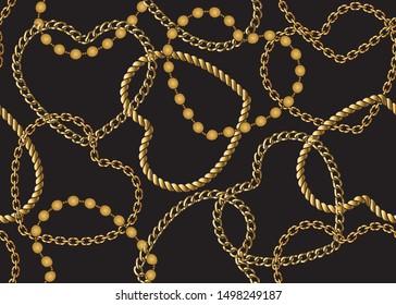 Seamless Golden Chain Pattern, Vector Design