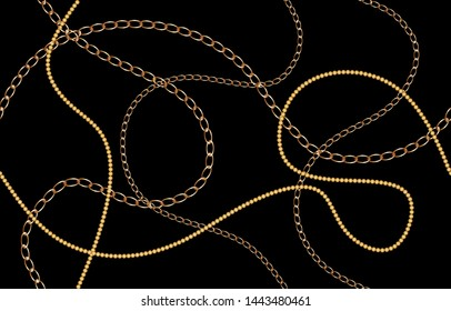 Seamless golden decorative pattern with chains on black background.EPS10 Illustration