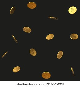 seamless golden dollar coins pattern. realistic vector illustration. suitable for any economy, finance and money themes.