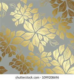 Seamless golden leaves wallpaper pattern on grey background. This image is a vector illustration.