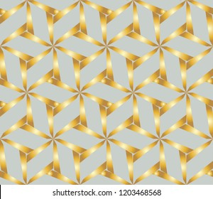Seamless golden ornament in arabian style. Geometric abstract background. Vector illustration.