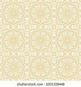 Seamless golden ornamental laced vector pattern on white backgorund