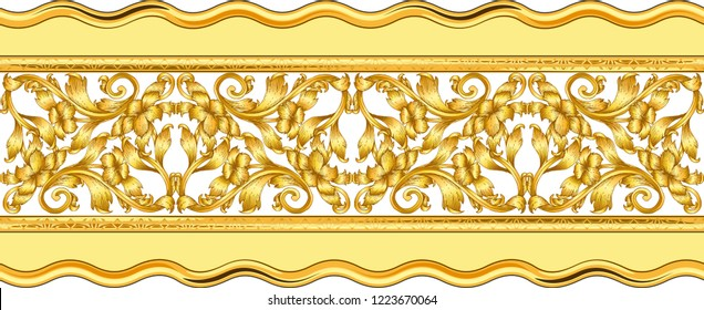 Seamless golden ornamental segment on white
