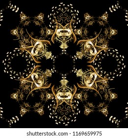 Seamless golden pattern. Vector oriental ornament. Seamless pattern on black, brown and yellow colors with golden elements.