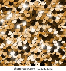 Seamless golden texture of fabric with sequins