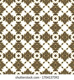 Seamless golden vector ornamental  pattern,  on dark background