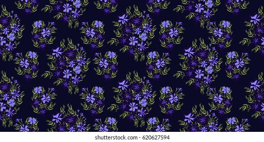 Seamless gorgeous bright pattern in small wildflowers. Millefleur. Liberty style. Floral background for textile, wallpaper, pattern fills, covers, surface, print, gift wrap, scrapbooking, decoupage.